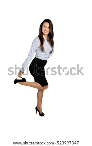 young business woman hold shoes on white background