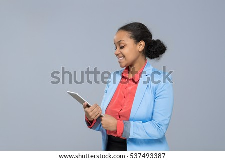 Young Business Woman Hold Tablet Computer African American Girl Happy Smile Businesswoman Isolated Over Gray Background