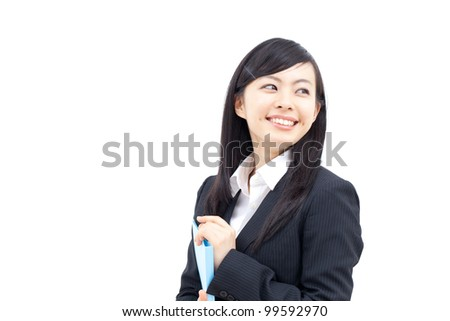 Young business woman holding a file, isolated on white background - stock photo