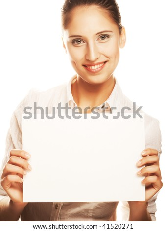 young business woman holding empty white board - stock photo