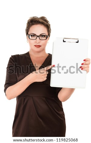Young business woman holding empty white board isolated over white - stock photo