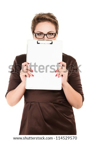 Young business woman holding empty white board studio isolated