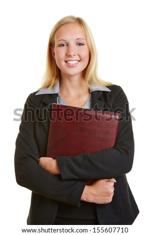 Young business woman holding files going to a job interview