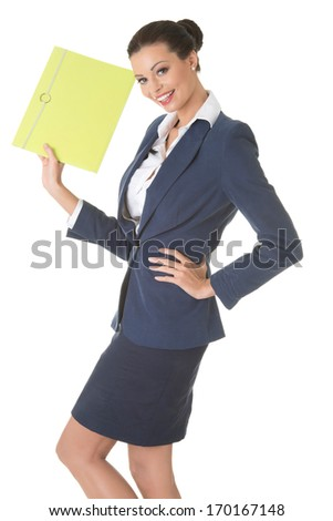 Young business woman holding files. Isolated on white.