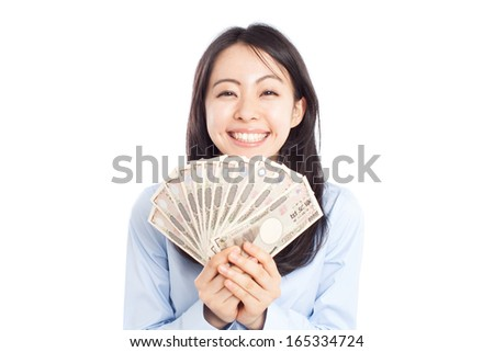 young business woman holding money isolated on white background  - stock photo