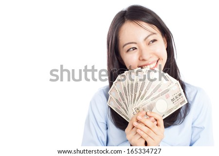 young business woman holding money isolated on white background