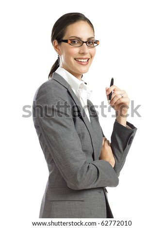young business woman holding pen - stock photo