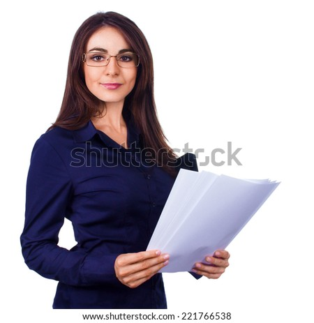 Young business woman holding reports and looking at camera, isolated over white - stock photo