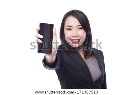 Young business woman holding  smartphone on white background - stock photo