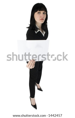 Young business woman holding white sign.