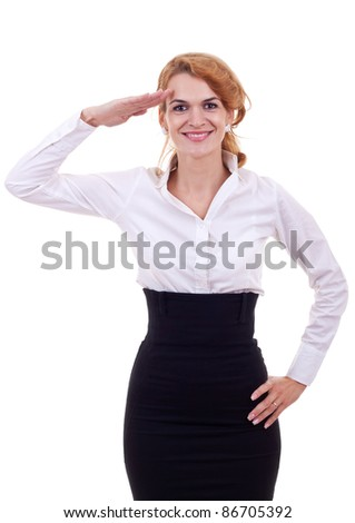 young business woman in a saluting position over white background - stock photo
