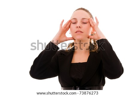 Young business woman in agony with headache, isolated on white