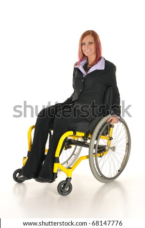 Young Business Woman in wheelchair - stock photo