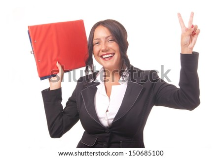 young business woman is looking forward to business success - stock photo