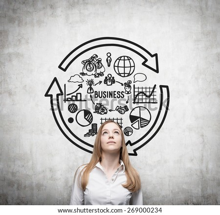 Young business woman is thinking about business cycle. - stock photo