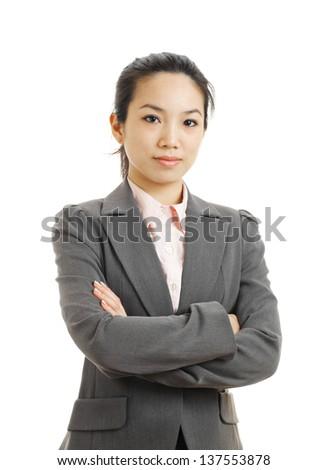 young business woman isolated on white - stock photo