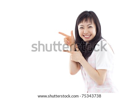 young business woman isolated on white back ground - stock photo