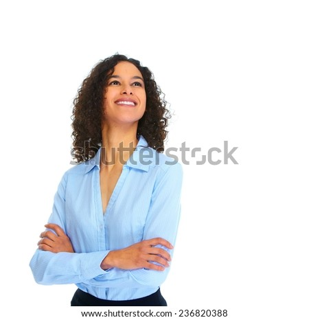 Young business woman isolated over white background