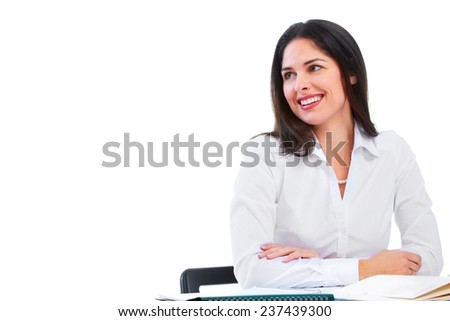 Young business woman isolated over white background - stock photo