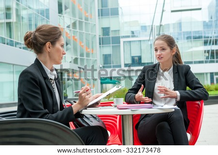Young business woman job interview - stock photo