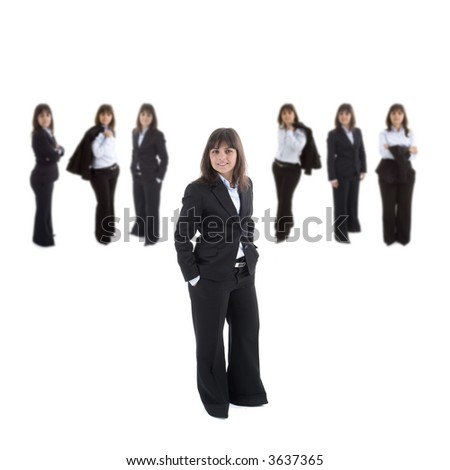 Young business woman leading a corporate team isolated in white background