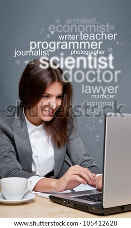 Young business woman looking for staff of different professions using her laptop