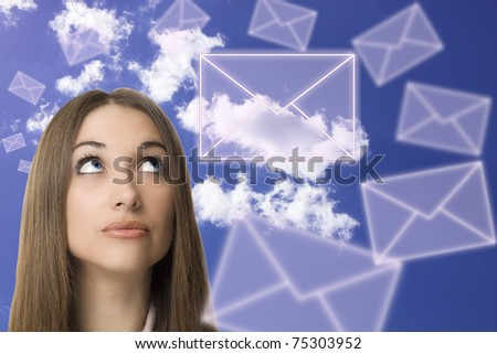 Young business woman looking letters - stock photo