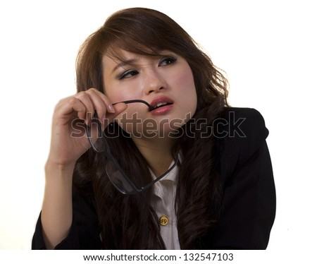 young business woman looking tired expression