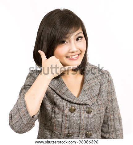 young business woman making call gesture - stock photo