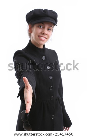Young business woman offering to shake hands - focus on hand