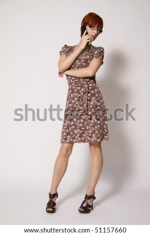 Young Business Woman on Mobile Phone - stock photo