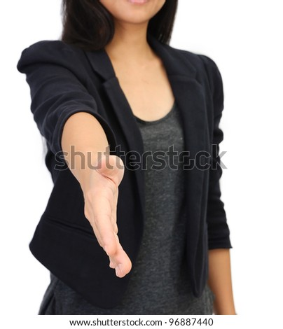 young business woman open hand isolated white background - stock photo