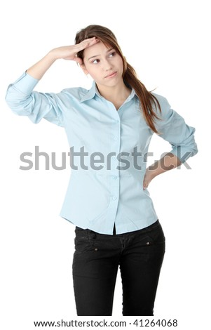 Young business woman or student - thinking, isolated on white