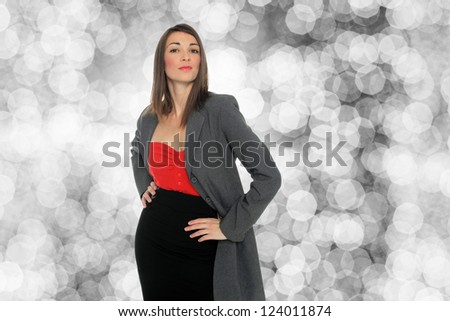 Young business woman over abstract background