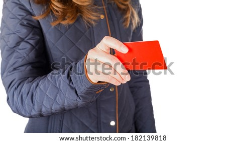 Young business woman pay with credit card - stock photo