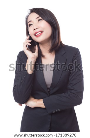 young business woman phone cal - stock photo