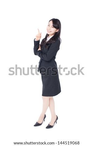 young business woman pointing copy space isolated on white background - stock photo