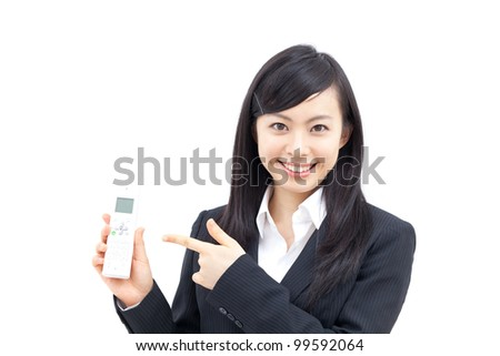 young business woman pointing phone, isolated on white background - stock photo