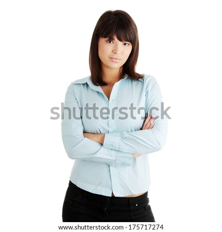 Young business woman portrait, isolated on white - stock photo
