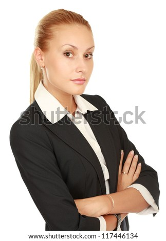 Young business woman portrait isolated on white background - stock photo