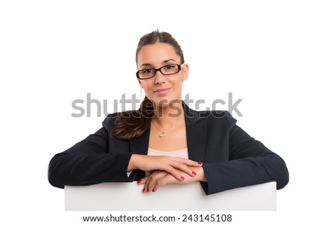 Young business woman presenting your product over a white card - stock photo