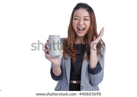 Young business woman pretty beautiful attractive cheerful presenting emtry blank grey a can of soft drink on white background, have clipping path.  - stock photo