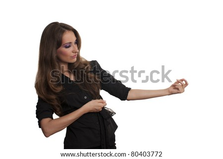 Young business woman pulling something with both hands