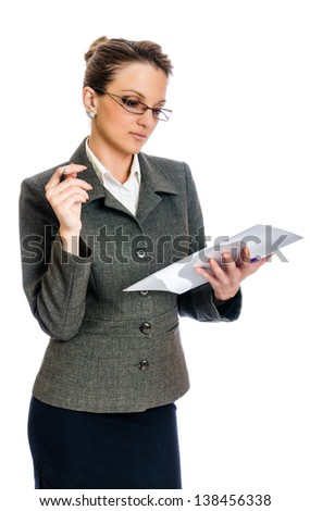 Young Business woman reading