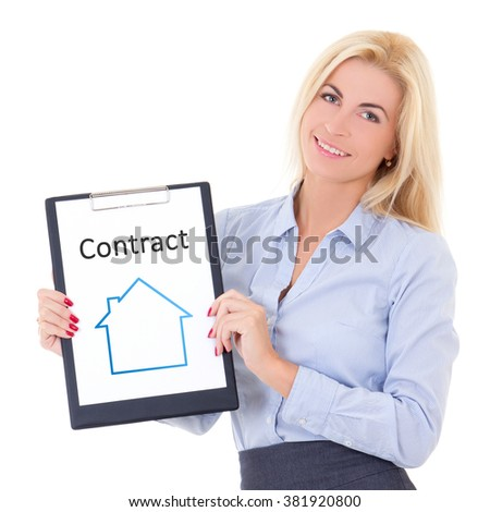 young business woman real estate agent showing clipboard with contract isolated on white background - stock photo