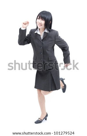 Young business woman running isolated on white background. - stock photo
