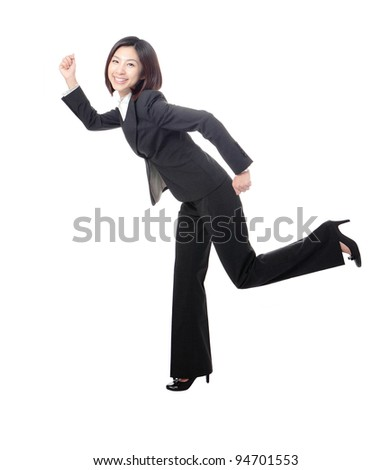 young business woman running, isolated on white background, model is a asian beauty - stock photo