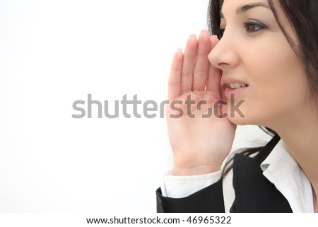 young business woman saying gossips closeup portrait isolated over white - stock photo