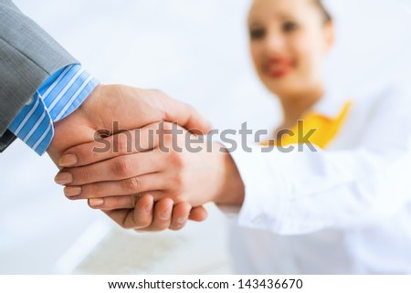 young business woman shaking hands with a client, the agreement between the partners