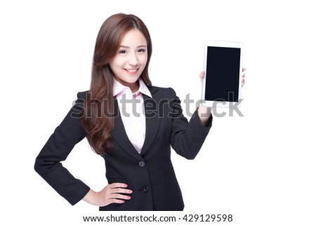 Young Business woman smile show digital tablet pc isolated on white background, model is a asian beauty